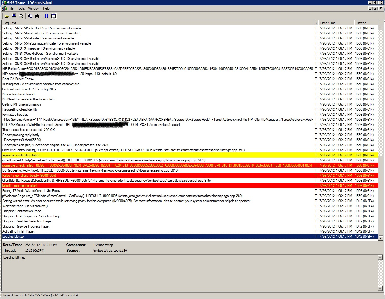 SCCM 2007 OSD – Failed to get client identity (80004005) and